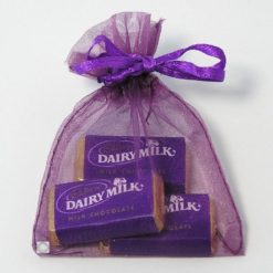 Small Aubergine Organza Bag with Ribbon Tie 7 x 9 cm approx