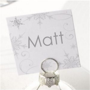 Shimmering Snowflake Square Place Cards - 10 Pack
