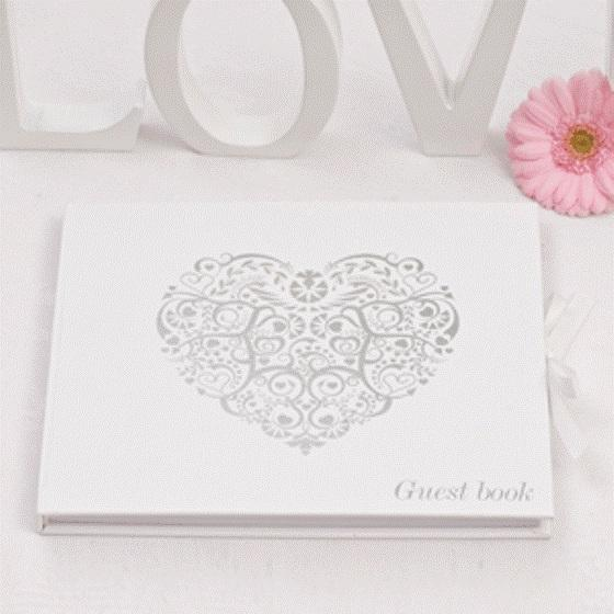 Vintage Romance Silver Hearts Guest Book