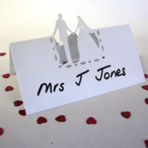 10 Bride and Groom Design White Place Cards 9cm x 4.5cm