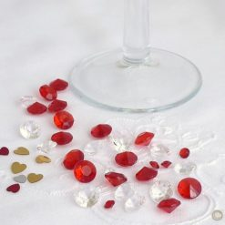 Red and Clear Table Crystals in 2 sizes, Standard Pack