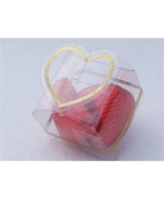 Clear Heart Box with 3 Swiss Milk Chocolate Foiled Hearts Choose your colour