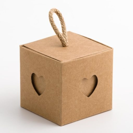 Kraft square boxes with a heart inset